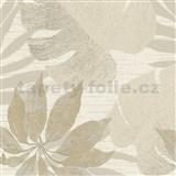 Luxusní vliesové tapety na zeď Avalon listy s květy hnědé na krémovém podkladu