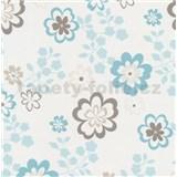 Papírové tapety na zeď Be You - květy modro-hnědé - SLEVA