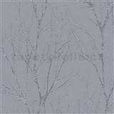 Vliesové tapety na zeď Blooming florální vzor šedý