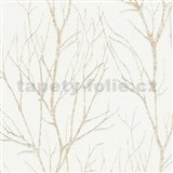 Vliesové tapety na zeď Blooming florální vzor zlatý na bílém podkladu