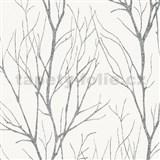 Vliesové tapety na zeď Blooming florální vzor černý na bílém podkladu