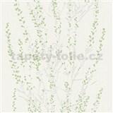 Vliesové tapety na zeď Blooming větvičky stříbrné se zelenými lístky