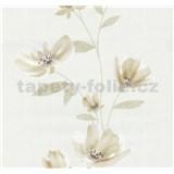 Vliesové tapety na zeď Blues květy světle hnědé - POSLEDNÍ KUSY