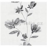 Vliesové tapety na zeď Blues květy šedé