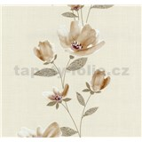 Vliesové tapety na zeď Blues květy světle okrové - POSLEDNÍ KUSY