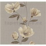 Vliesové tapety na zeď Blues květy hnědé - POSLEDNÍ KUSY