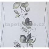 Vliesové tapety na zeď My Feels květy zeleno-šedé na bílém podkladu - POSLEDNÍ KUSY