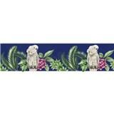 Papírová bordura papoušci na tmavě modrém podkladu 5 m x 13,5 cm