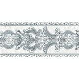 Vliesové bordury ornamenty šedé s třpytkami rozměr 5 m x 12,5 cm