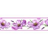 Samolepící bordura květy fialové 5 m x 8,3 cm