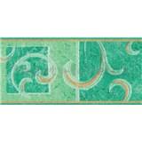 Samolepící bordura secesní vzor zelený 10 m x 10 cm