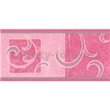 Samolepící bordura secesní vzor růžový 10 m x 10 cm