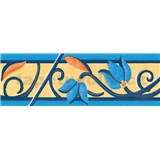 Samolep�c� bordury kv�ty s ornamentem modr� 5 m x 6,9 cm