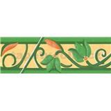 Samolepící bordury květy s ornamentem zelené 5 m x 6,9 cm