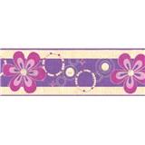 Samolepící bordury květy fialové 5 m x 6,9 cm