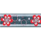 Samolepící bordura - květy červené 5 m x 6,9 cm