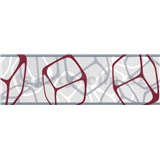 Samolepící bordury čtverce bordó-stříbrné 5 m x 6,9 cm