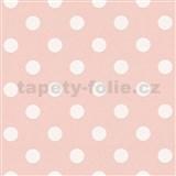 Vliesové tapety na zeď Boys & Girls puntíky bílé na růžovém podkladu