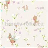 Papírové tapety na zeď Boys & Girls lesní zvířátka na bílém podkladu