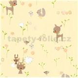 Papírové tapety na zeď Boys & Girls lesní zvířátka na žlutém podkladu