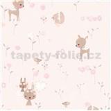 Papírové tapety na zeď Boys & Girls lesní zvířátka na růžovém podkladu