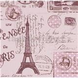 Papírové tapety na zeď Boys & Girls pohlednice růžové