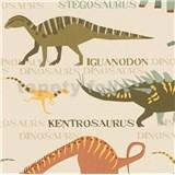 Papírové tapety na zeď Boys & Girls dinosauři barevní na krémovém podkladu