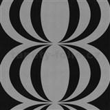 Retro tapety Cameo - cibulov� vzor - �ernost��brn� - MEGA SLEVA