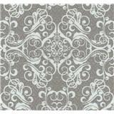 Vliesové tapety na zeď Caprice ornament bílý na hnědém podkladu