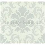 Vliesové tapety na zeď Carat zámecký vzor stříbrný na bílém podkladu