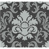 Vliesové tapety na zeď Carat zámecký vzor stříbrný na černém podkladu
