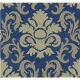 Vliesové tapety na zeď Carat zámecký vzor světle zlatý na modrém podkladu