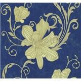 Vliesové tapety na zeď Carat květy zlaté na modrém podkladu - SLEVA