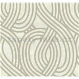 Vliesové tapety na zeď Carat moderní vzor stříbrný na světle hnědém podkladu