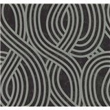 Vliesové tapety na zeď Carat moderní vzor stříbrný na černém podkladu