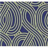 Vliesové tapety na zeď Carat moderní vzor světle zlatý na modrém podkladu