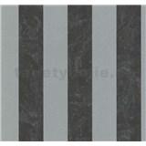 Vliesové tapety na zeď Carat pruhy černo-stříbrné