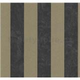 Vliesové tapety na zeď Carat pruhy bronzovo-černé