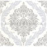 Luxusní vliesové tapety na zeď CARAT ornamentální zámecký vzor šedo stříbrný s třpytkami