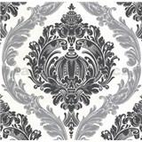 Luxusní vliesové tapety na zeď CARAT ornamentální vzor černo stříbrný s třpytkami