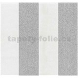 Vliesové tapety na zeď Casual Chic pruhy šedo-bílé