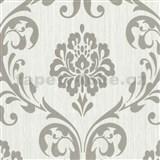 Vliesové tapety na zeď Classico zámecký vzor stříbrný na světle šedém podkladu