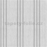 Vliesové tapety na zeď Classico pruhy stříbrné na světle šedém podkladu - SLEVA
