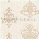 Vliesové tapety na zeď Classico ornament světle hnědý se stříbrným třpytem