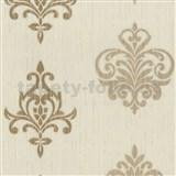 Vliesové tapety na zeď Classico ornament okrový se zlatým třpytem - SLEVA