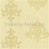 Vliesové tapety na zeď Classico ornament béžový se zlatým třpytem - SLEVA