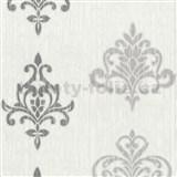 Vliesové tapety na zeď Classico ornament šedý se stříbrným třpytem