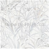 Vliesové tapety na zeď IMPOL Code Nature listy světle šedo-béžové na bílém podkladu