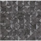 Vliesové tapety na zeď Collage 3D obklad černo-stříbrný