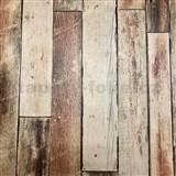 Vliesové tapety na zeď Collage dřevěná stěna hnědá